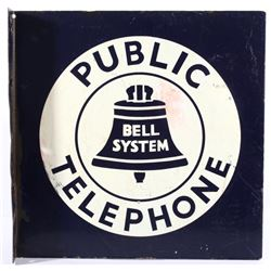 Original Porcelain Enamel Telephone Bell Sign