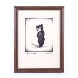 "Olive Fell ""Guess Who"" Little Bear Cub Etching"