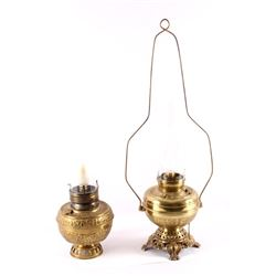 Early Ornate Brass Lamp Pair Large 19th-20th