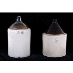 Pair of Three Gallon Stoneware Whiskey Crock Jugs