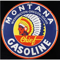 Montana Chief Gasoline Porcelain Enamel sign