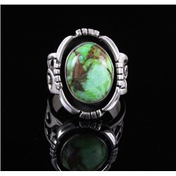 Navajo Sterling & Carico Lake Turquoise Ring