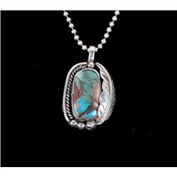 Navajo Sterling Silver & Bisbee Turquoise Necklace