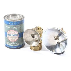1930's Miners Brass Carbide Lamps and Oil Can