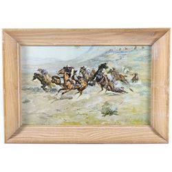 "Charlie Russell ""The Surprise Attack"" Framed Print"