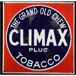 Climax Tobacco Porcelain Enamel Advertising Sign