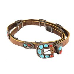 Navajo Sterling Concho Turquoise & Coral Belt