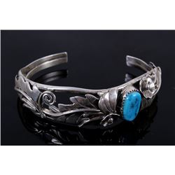 Native American Silver Floral Turquoise Bracelet