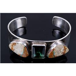 Navajo Royston Turquoise & Tourmaline Bracelet