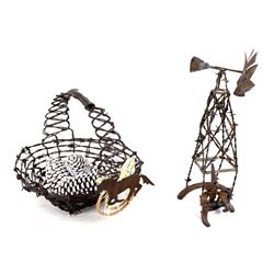 Folk Art Barbed Wire Basket and Windmill