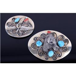 Two Navajo J Roan Silver Turquoise & Coral Buckles