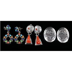 Set of Navajo Sterling Silver and Stone Earrings