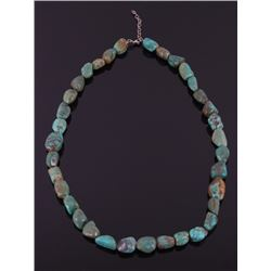 Silver & Tumbled Turquoise Designer Barse Necklace