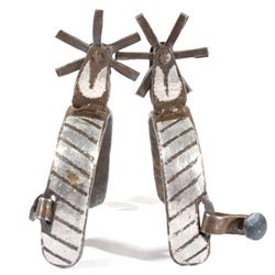 Late 19th Century Silver Inlay Vaquero Spurs