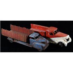 Mid 20th Century Metal Toy Ice & Dump Trucks