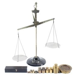Welch Balance Scale and Brass Weights