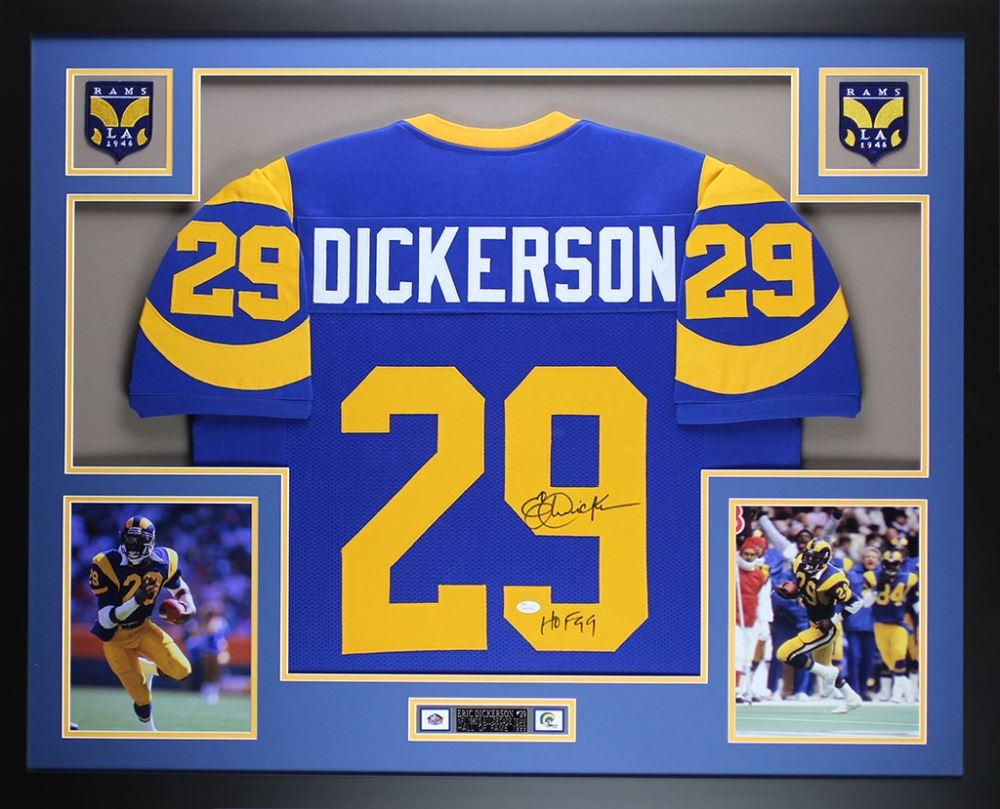 Eric Dickerson HOF Autographed Los Angeles Rams Custom Blue Football Jersey JSA