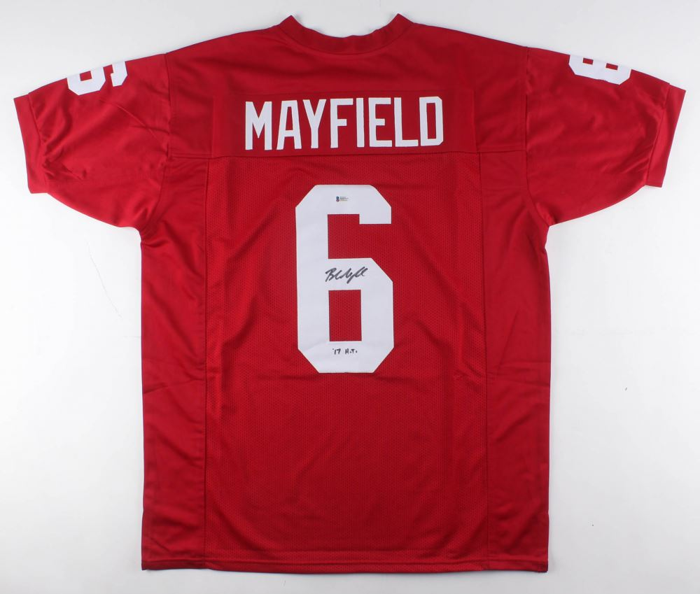 finest selection 51141 35b9f Baker Mayfield Signed Oklahoma Sooners Jersey Inscribed ...