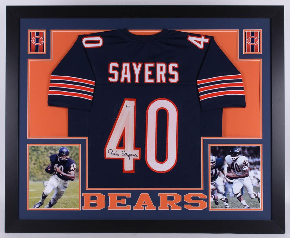 reputable site 24139 fdab9 Gale Sayers Signed Chicago Bears 35x43 Custom Framed ...