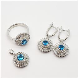 SILVER CZ RING, EARRING AND PENDANT SET (15.2g)