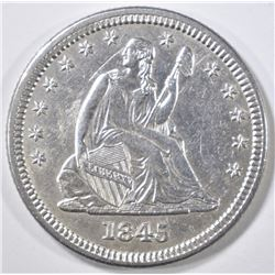 1845 SEATED QUARTER AU/BU