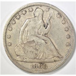 1868-S SEATED HALF DOLLAR VF