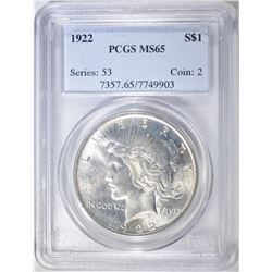 1922 PEACE DOLLAR, PCGS MS-65