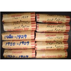10-ROLLS MIXED DATE CIRC LINCOLN CENTS, 1920-29