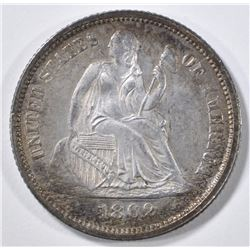 1862 SEATED LIBERTY DIME BU COLOR