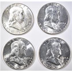 4 1953 FRANKLIN HALF DOLLARS CH BU