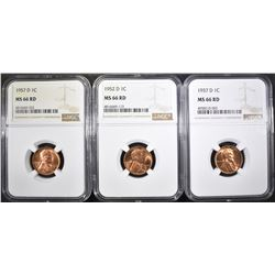 1937-D, 52-D & 57-D LINCOLN CENTS, NGC MS-66 RED