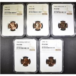 1959, 60 SD, 60 LD, 62, 64 CENTS NGC PF-67 RD