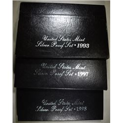 1993, 97 & 98 U.S. SILVER PROOF SETS