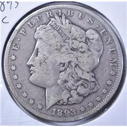 1893-CC MORGAN DOLLAR, VG/FINE