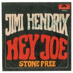 Jimi` Hendrix Signed 45 RPM Record Sleeve