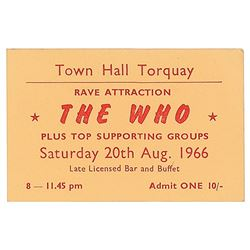 The Who 1966 Torquay Concert Ticket