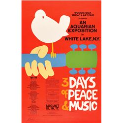Woodstock Poster Signed by Michael Lang
