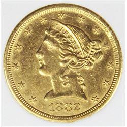 1882-CC $5 GOLD WHSG GRADED CH BU