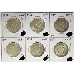HALF DOLLAR LOT - 6 COINS TOTAL