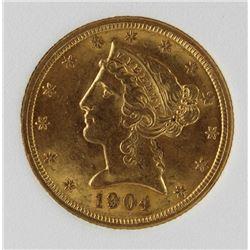1904 $5 LIBERTY GOLD