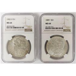 TWO NGC MS64 MORGAN DOLLARS: