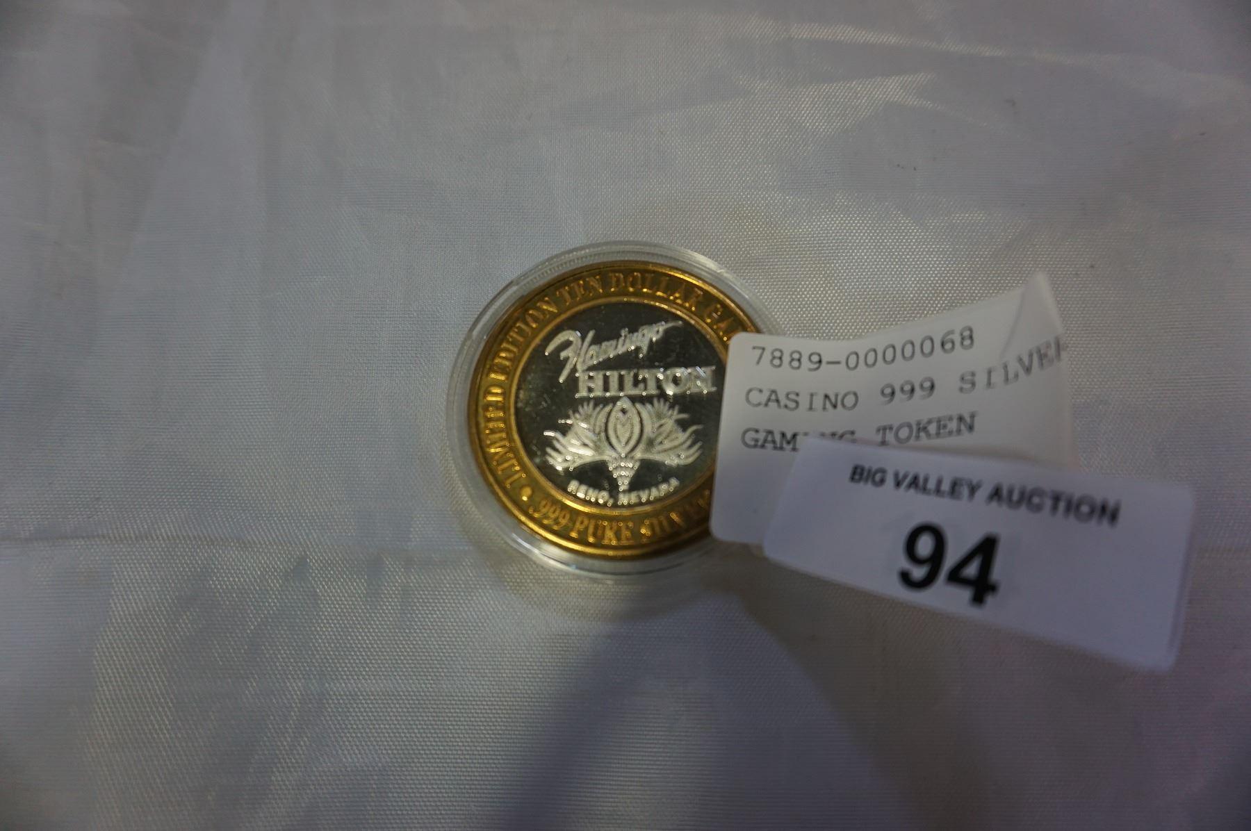 CASINO 999 SILVER 10 DOLLAR GAMING TOKEN - Big Valley Auction