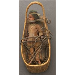 HUPA INDIAN BASKETRY DOLL CRADLE