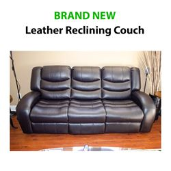 BRAND NEW - Leather Reclining Couch