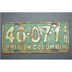 Rare 1948 - Vintage Licence Plate