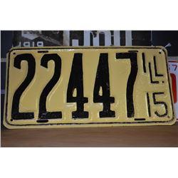 1915 Illinois License Plate