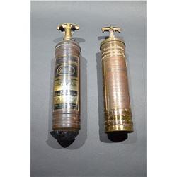 2 - Antique Brass Fire Extinguishers