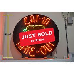 VERY LARGE Original Neon Food Sign - 5' Dia.