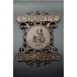 "Large cast iron ""Fire Office"" plaque"