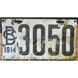 VERY RARE- 1914 BC Porcelain License Plate